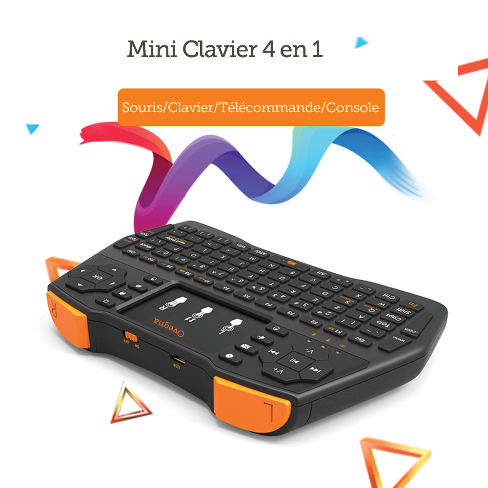 Ovegna i8 Plus: Mini Keyboard 4 in 1 (Mouse, Keyboard, Remote and Console) AZERTY, 2.4Ghz Wireless, with Touchpad, for Smart TV, Mac, PC, Mini PC, Raspberry PI 2/3, Consoles and Android Box Hover