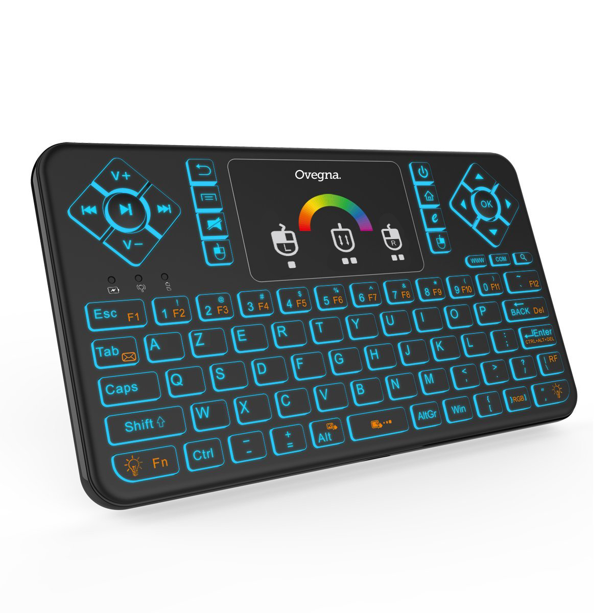 Ovegna Q9 AZERTY, Mini 2.4Ghz Wireless Keyboard, Wireless with Touchpad, LED Backlit RGB, for Smart TV, PC, Mini PC, Raspberry PI 2/3, Consoles, Laptop, PC and Android Box