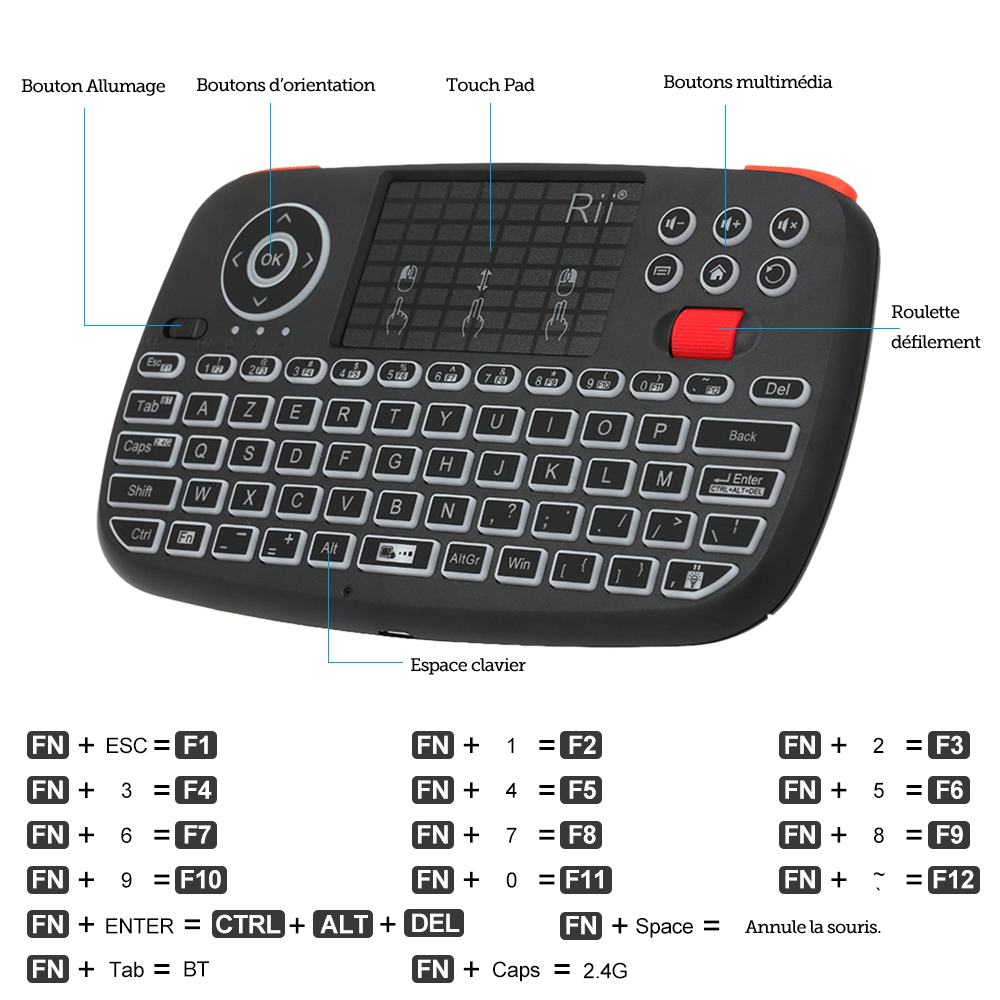 (New) Rii i4: Mini Wireless Keyboard, 2 in 1 (Bluetooth & Wireless 2.4Ghz), QWERTY, Backlit, TouchPad, for iOS, Android, Android Box, Smartphone, PS4, Xbox, Apple TV, Tablet, Console , PC
